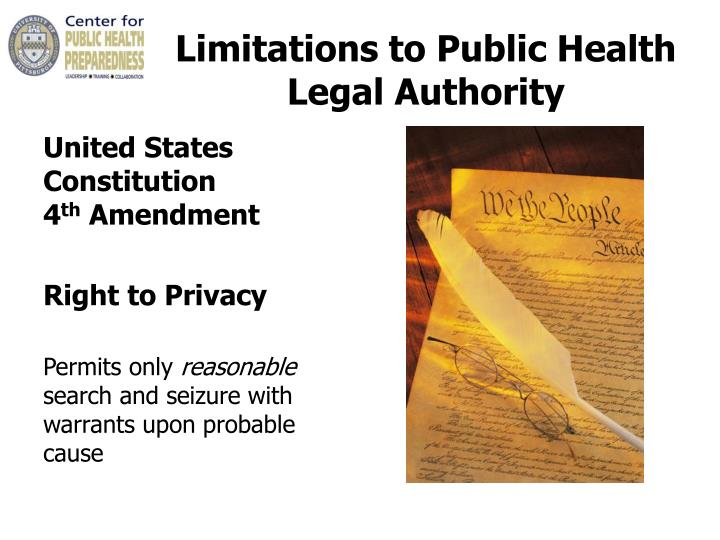Limitations to Public Health Legal Authority