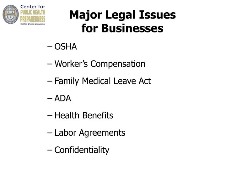 Major Legal Issues                      for Businesses