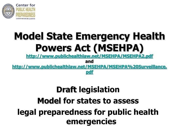 Model State Emergency Health Powers Act (MSEHPA)