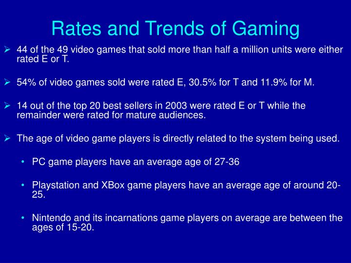 Rates and Trends of Gaming