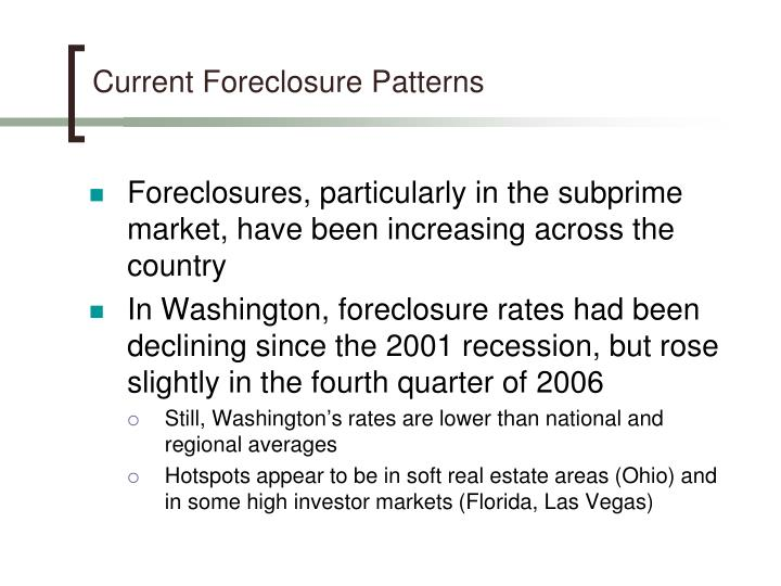 Current Foreclosure Patterns