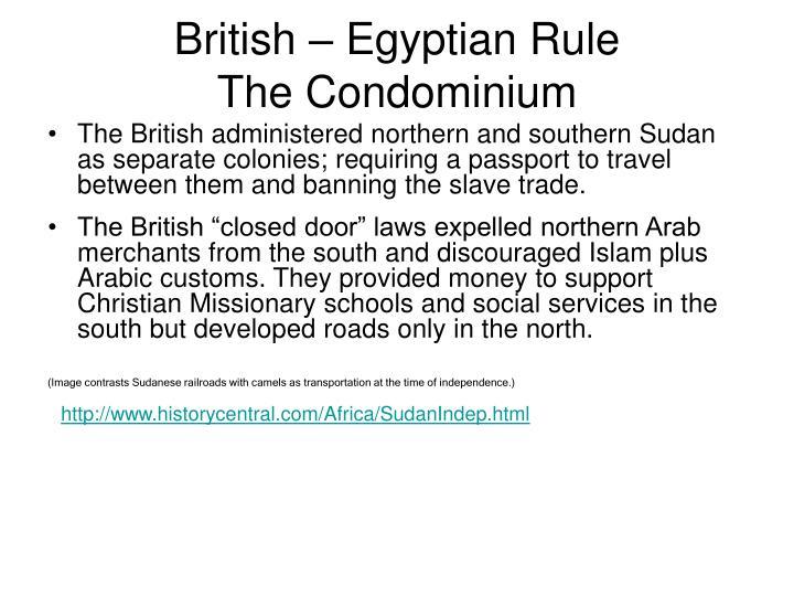 British – Egyptian Rule