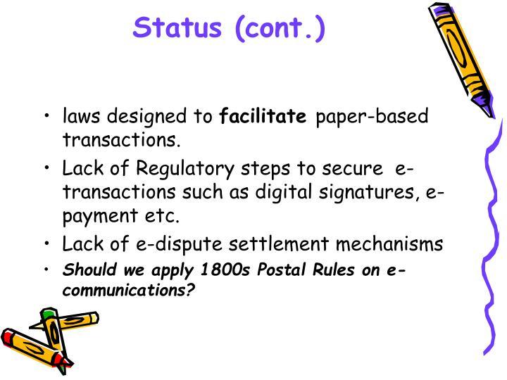 Status (cont.)