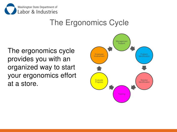 The ergonomics cycle provides you with an organized way to start your ergonomics effort at a store.