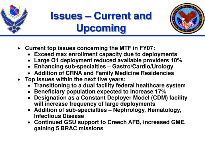 Issues – Current and Upcoming