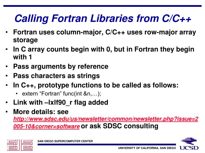Calling Fortran Libraries from C/C++