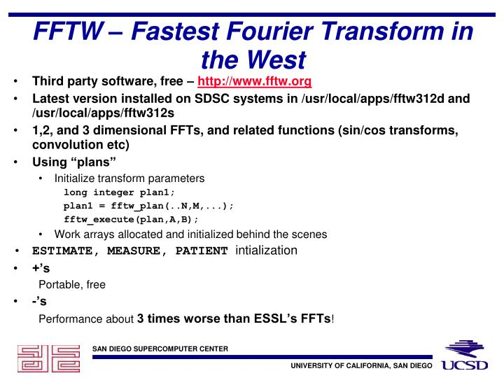 FFTW – Fastest Fourier Transform in the West