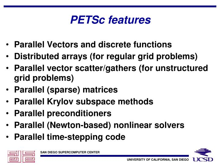 PETSc features