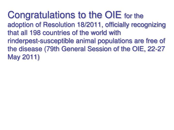 Congratulations to the OIE