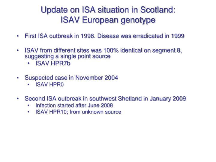 Update on ISA situation in Scotland: