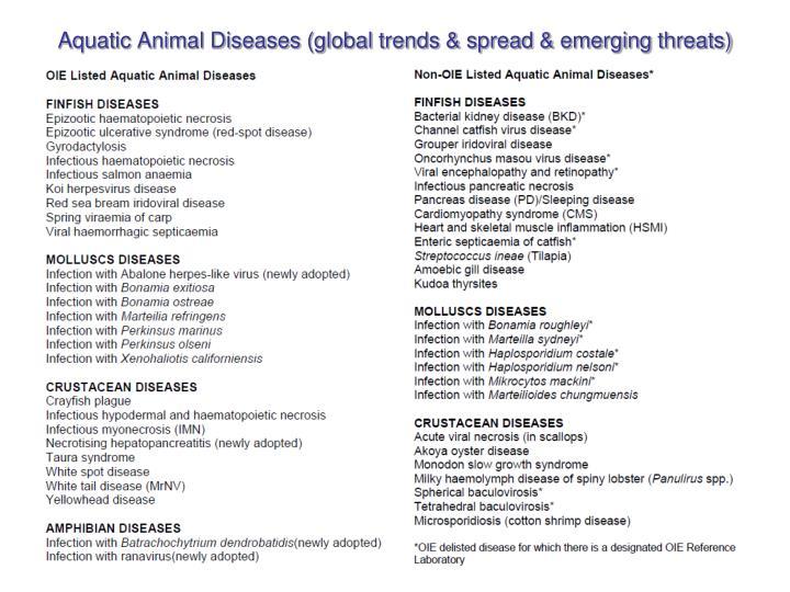 Aquatic Animal Diseases (global trends & spread & emerging threats)