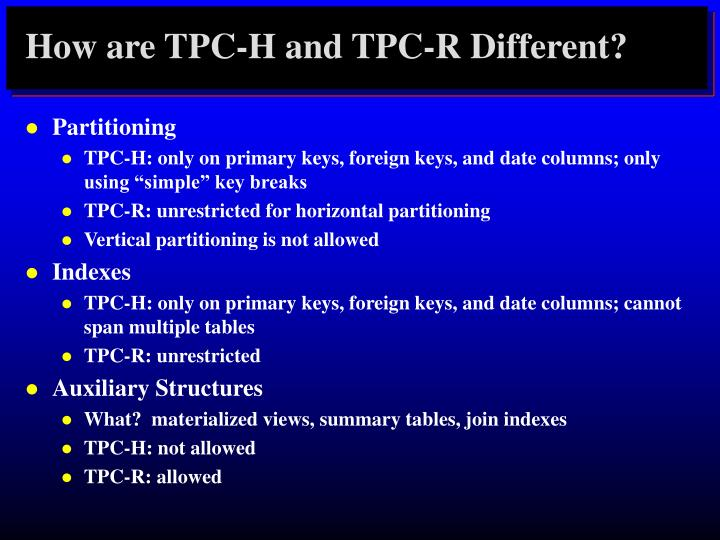 How are TPC-H and TPC-R Different?