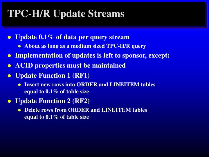 TPC-H/R Update Streams
