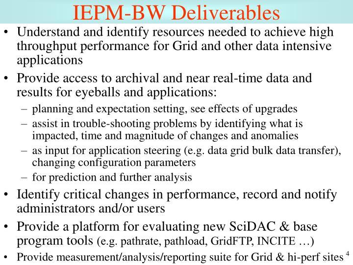 IEPM-BW Deliverables
