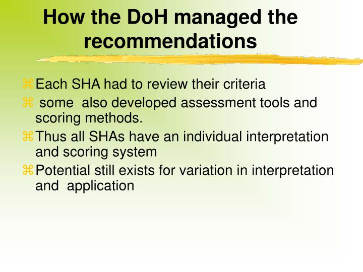 How the DoH managed the recommendations