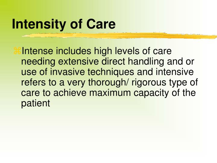 Intensity of Care