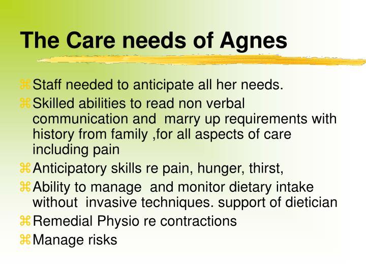 The Care needs of Agnes