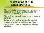 the definition of nhs continuing care