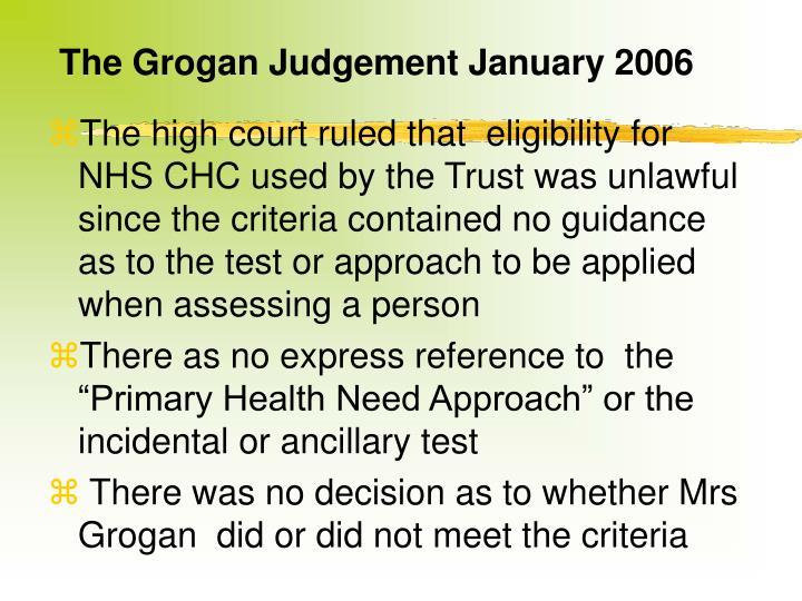 The Grogan Judgement January 2006