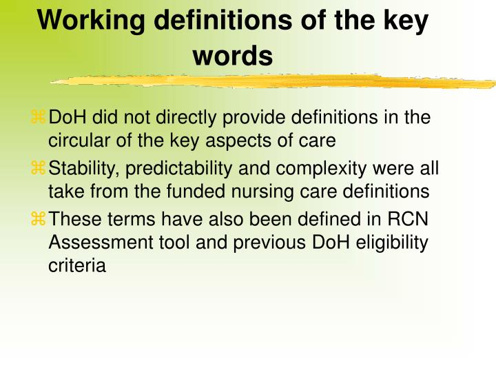 Working definitions of the key words
