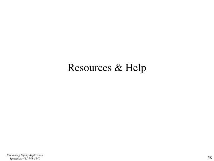 Resources & Help