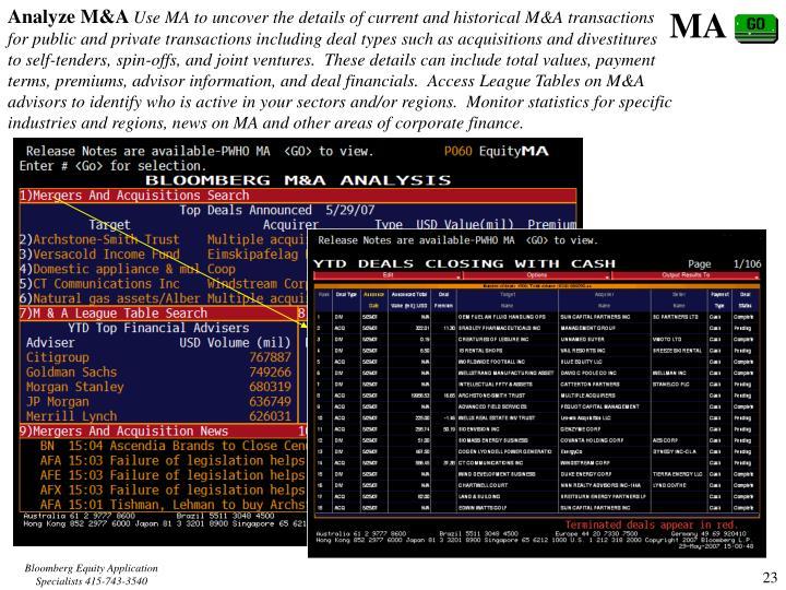 Analyze M&A