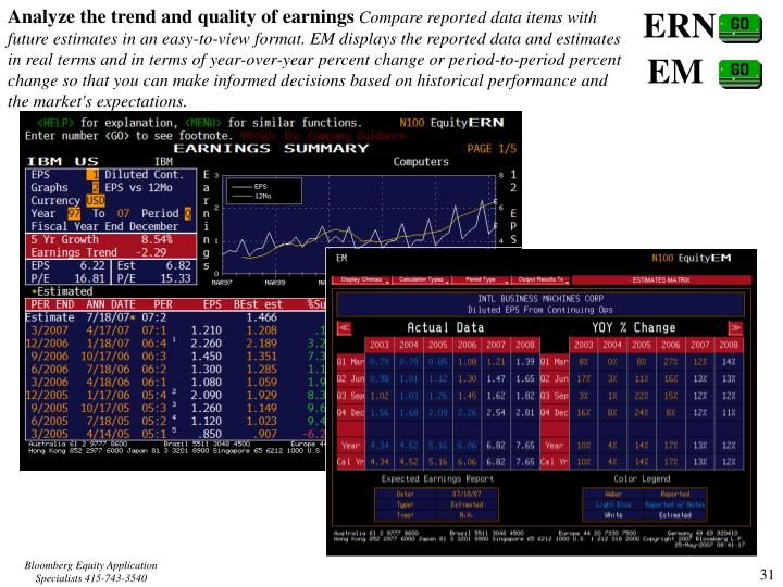 Analyze the trend and quality of earnings