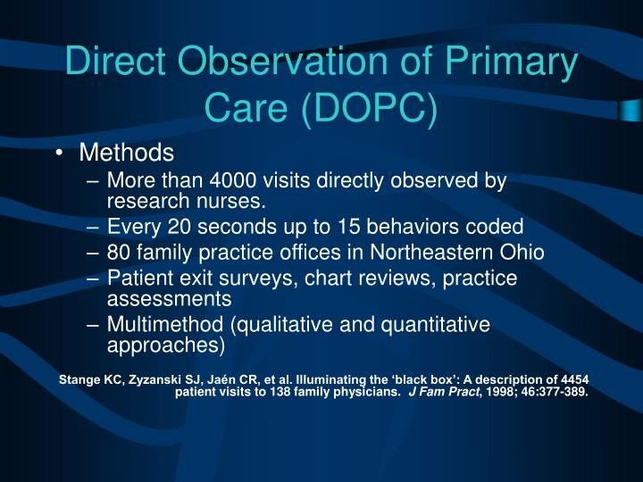 Direct Observation of Primary Care (DOPC)