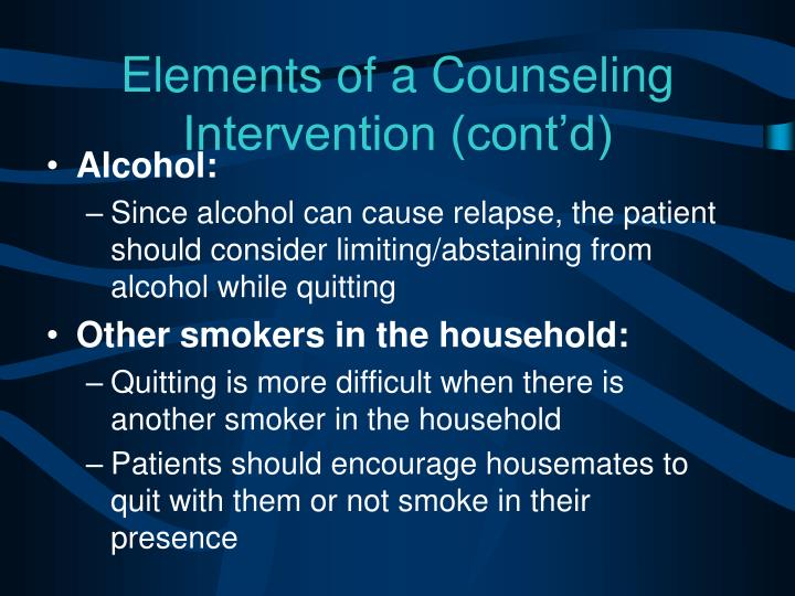 Elements of a Counseling Intervention (cont'd)