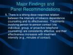 major findings and panel recommendations4