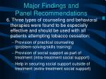 major findings and panel recommendations5