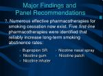 major findings and panel recommendations6