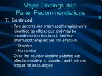 major findings and panel recommendations7