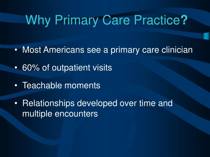 Why Primary Care Practice