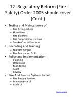 12 regulatory reform fire safety order 2005 should cover cont