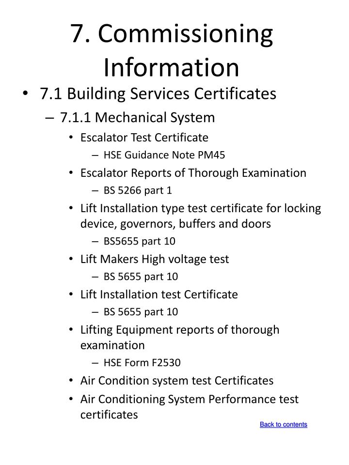 7. Commissioning Information