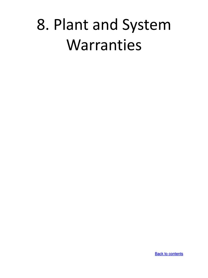 8. Plant and System Warranties