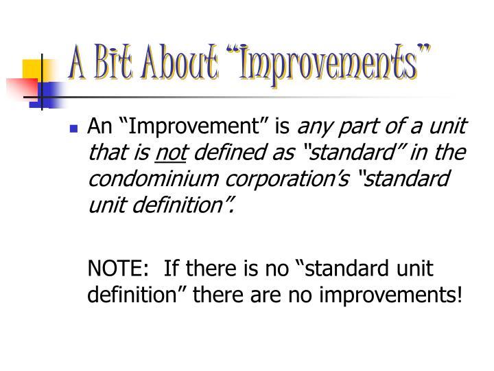 """A Bit About """"Improvements"""""""