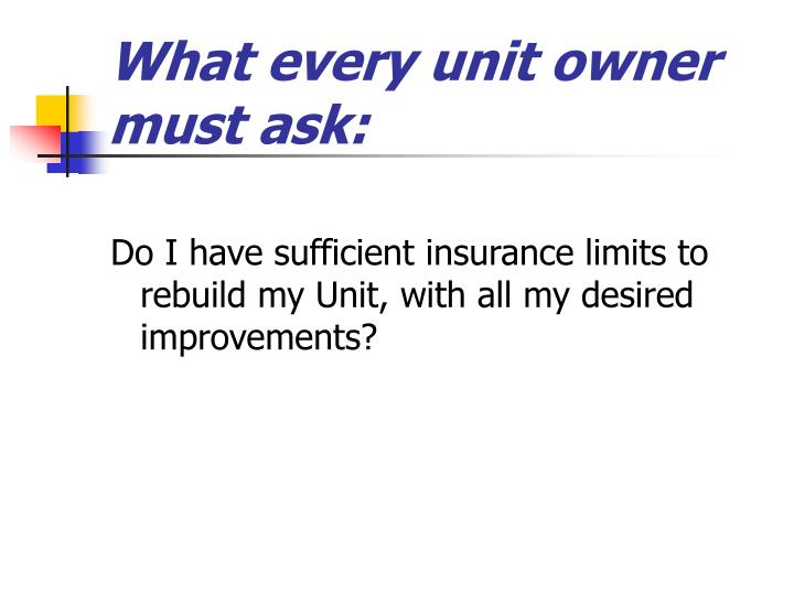 What every unit owner must ask: