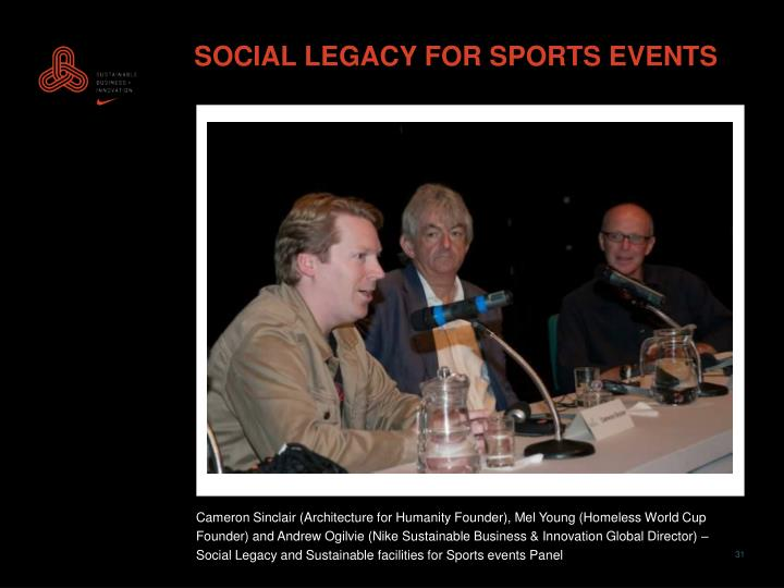 SOCIAL LEGACY FOR SPORTS EVENTS