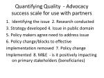 quantifying quality advocacy success scale for use with partners