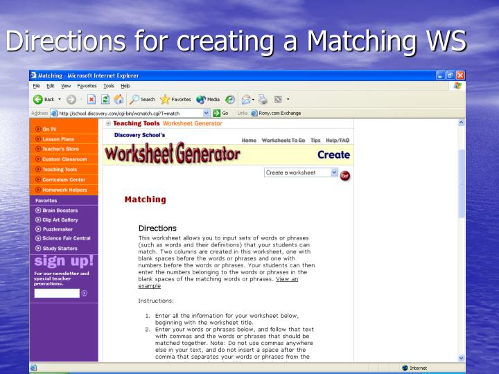Directions for creating a Matching WS