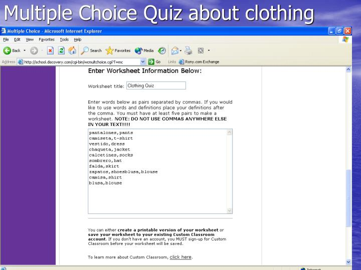 Multiple Choice Quiz about clothing