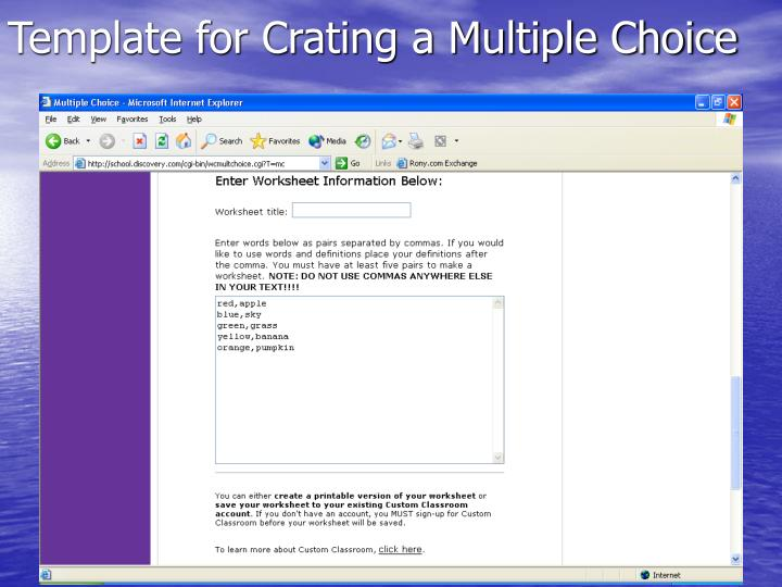 Template for Crating a Multiple Choice