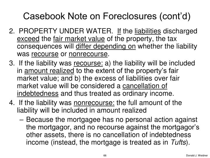 Casebook Note on Foreclosures (cont'd)