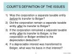 court s definition of the issues