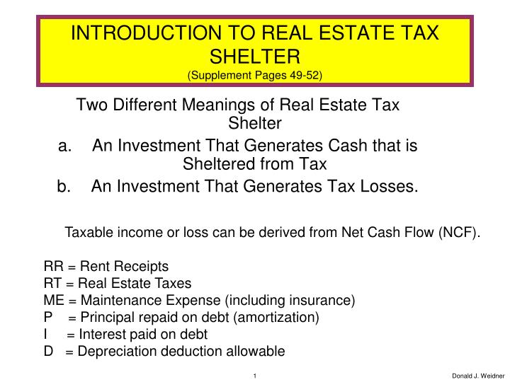 introduction to real estate tax shelter supplement pages 49 52