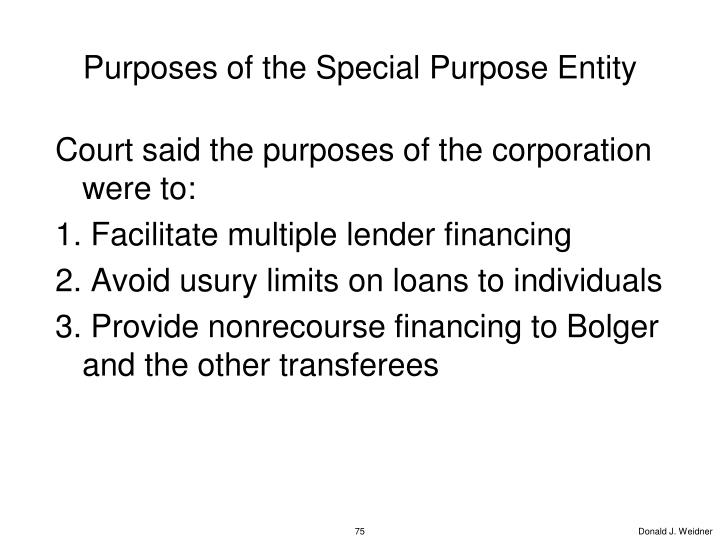 Purposes of the Special Purpose Entity