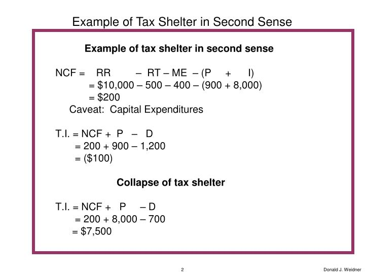 Example of Tax Shelter in Second Sense