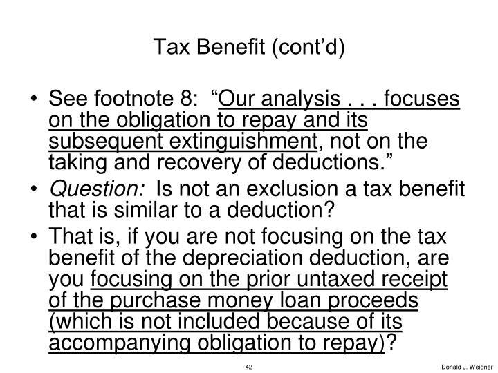 Tax Benefit (cont'd)
